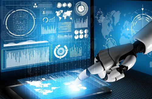 Roboterhand tippt auf virtuellen Screen