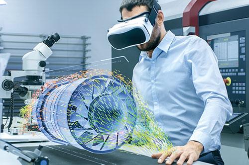 Mann mit VR Brille Augmented Reality