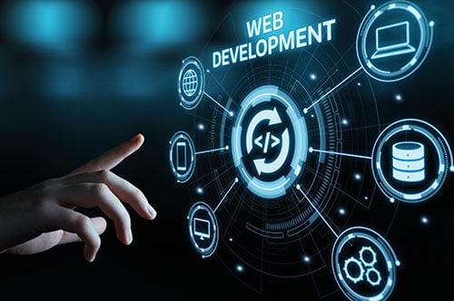 Darstellung einer Hand, die auf einen virtuellen Screen zeigt mit der Schrift Web Development.